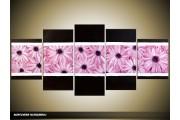 Acryl Schilderij Modern | Paars, Roze, Zwart | 150x70cm 5Luik Handgeschilderd