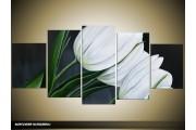 Acryl Schilderij Tulp | Wit, Grijs, Groen | 150x70cm 5Luik Handgeschilderd
