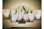 Acryl Schilderij Tulp | Wit, Crème, Oranje | 150x70cm 5Luik Handgeschilderd