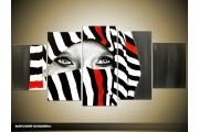 Acryl Schilderij Modern | Zwart, Rood, Wit | 150x70cm 5Luik Handgeschilderd