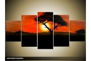 Acryl Schilderij Zonsondergang | Oranje, Zwart, Rood | 150x70cm 5Luik Handgeschilderd