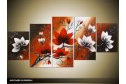 Acryl Schilderij Magnolia | Rood, Wit, Bruin | 150x70cm 5Luik Handgeschilderd