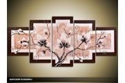 Acryl Schilderij Magnolia | Crème, Bruin, Wit | 150x70cm 5Luik Handgeschilderd
