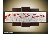 Acryl Schilderij Modern | Rood, Grijs, Bruin | 150x70cm 5Luik Handgeschilderd