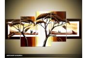 Acryl Schilderij Natuur | Geel, Bruin, Wit | 150x70cm 5Luik Handgeschilderd