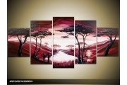 Acryl Schilderij Natuur | Rood, Roze, Crème | 150x70cm 5Luik Handgeschilderd