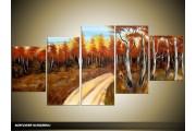 Acryl Schilderij Natuur | Bruin, Crème, Blauw | 150x70cm 5Luik Handgeschilderd