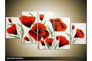 Acryl Schilderij Klaproos | Rood, Wit, Groen | 150x70cm 5Luik Handgeschilderd
