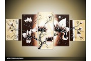 Acryl Schilderij Magnolia | Bruin, Geel, Crème | 150x70cm 5Luik Handgeschilderd