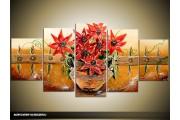 Acryl Schilderij Vaas | Bruin, Rood | 150x70cm 5Luik Handgeschilderd