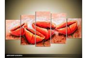 Acryl Schilderij Klaproos | Rood, Oranje | 150x70cm 5Luik Handgeschilderd