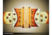 Acryl Schilderij Modern | Bruin, Geel, Oranje | 150x70cm 5Luik Handgeschilderd