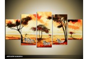 Acryl Schilderij Natuur | Geel, Oranje | 150x70cm 5Luik Handgeschilderd