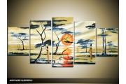 Acryl Schilderij Natuur | Crème, Oranje, Grijs | 150x70cm 5Luik Handgeschilderd