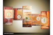 Acryl Schilderij Modern | Bruin, Geel, Crème | 150x70cm 5Luik Handgeschilderd