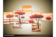 Acryl Schilderij Natuur | Crème, Rood | 160x70cm 5Luik Handgeschilderd