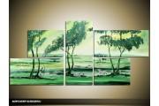 Acryl Schilderij Natuur | Groen | 130x70cm 5Luik Handgeschilderd