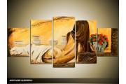 Acryl Schilderij Kunst, Sexy | Geel, Bruin | 150x70cm 5Luik Handgeschilderd