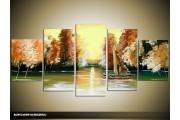 Acryl Schilderij Natuur | Geel, Bruin, Groen | 150x70cm 5Luik Handgeschilderd
