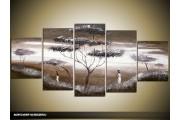 Acryl Schilderij Natuur | Grijs | 150x70cm 5Luik Handgeschilderd