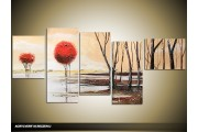 Acryl Schilderij Modern | Rood, Crème, Bruin | 160x70cm 5Luik Handgeschilderd