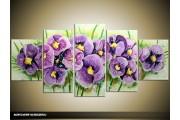 Acryl Schilderij Lente | Paars, Groen | 150x70cm 5Luik Handgeschilderd