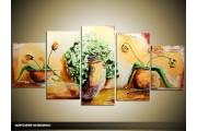 Acryl Schilderij Vaas | Crème, Bruin, Groen | 150x70cm 5Luik Handgeschilderd