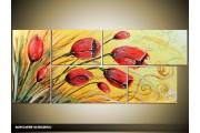 Acryl Schilderij Natuur | Rood, Geel | 130x60cm 5Luik Handgeschilderd