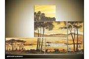 Acryl Schilderij Natuur | Bruin, Crème | 140x90cm 5Luik Handgeschilderd