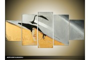Acryl Schilderij Modern | Grijs, Crème | 150x70cm 5Luik Handgeschilderd