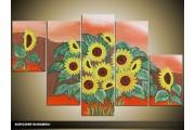 Acryl Schilderij Zonnebloem | Geel, Bruin, Rood | 100x60cm 5Luik Handgeschilderd
