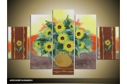 Acryl Schilderij Zonnebloem | Geel, Bruin, Groen | 100x60cm 5Luik Handgeschilderd