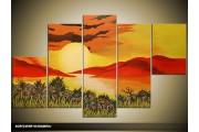 Acryl Schilderij Natuur | Geel, Rood | 100x60cm 5Luik Handgeschilderd