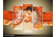 Acryl Schilderij Kunst, Sexy | Oranje, Geel | 100x60cm 5Luik Handgeschilderd