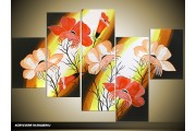 Acryl Schilderij Lente | Zwart, Geel, Rood | 100x60cm 5Luik Handgeschilderd