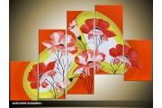 Acryl Schilderij Lente | Geel, Rood, Oranje | 100x60cm 5Luik Handgeschilderd