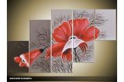 Acryl Schilderij Modern | Grijs, Rood | 100x60cm 5Luik Handgeschilderd