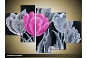 Acryl Schilderij Tulp | Roze, Grijs, Zwart | 100x60cm 5Luik Handgeschilderd