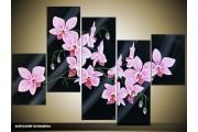 Acryl Schilderij Modern | Zwart, Roze | 100x60cm 5Luik Handgeschilderd