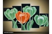 Acryl Schilderij Tulp | Groen, Oranje, Zwart | 100x60cm 5Luik Handgeschilderd