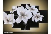 Acryl Schilderij Modern | Wit, Zwart | 100x60cm 5Luik Handgeschilderd