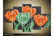 Acryl Schilderij Tulp | Oranje, Groen | 100x60cm 5Luik Handgeschilderd