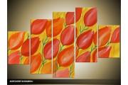 Acryl Schilderij Tulp | Rood, Oranje | 100x60cm 5Luik Handgeschilderd