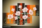 Acryl Schilderij Modern | Oranje, Zwart, Crème | 100x60cm 5Luik Handgeschilderd