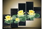 Acryl Schilderij Modern | Geel, Zwart, Groen | 100x60cm 5Luik Handgeschilderd