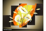 Acryl Schilderij Modern | Geel, Oranje, Zwart | 100x60cm 5Luik Handgeschilderd