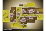 Acryl Schilderij Modern | Groen, Bruin, Paars | 100x60cm 5Luik Handgeschilderd