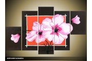 Acryl Schilderij Modern | Roze, Zwart, Oranje | 100x60cm 5Luik Handgeschilderd