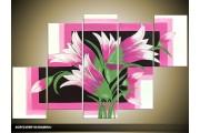Acryl Schilderij Modern | Roze, Groen, Zwart | 100x60cm 5Luik Handgeschilderd