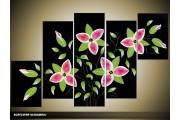 Acryl Schilderij Modern | Zwart, Roze, Groen | 100x60cm 5Luik Handgeschilderd